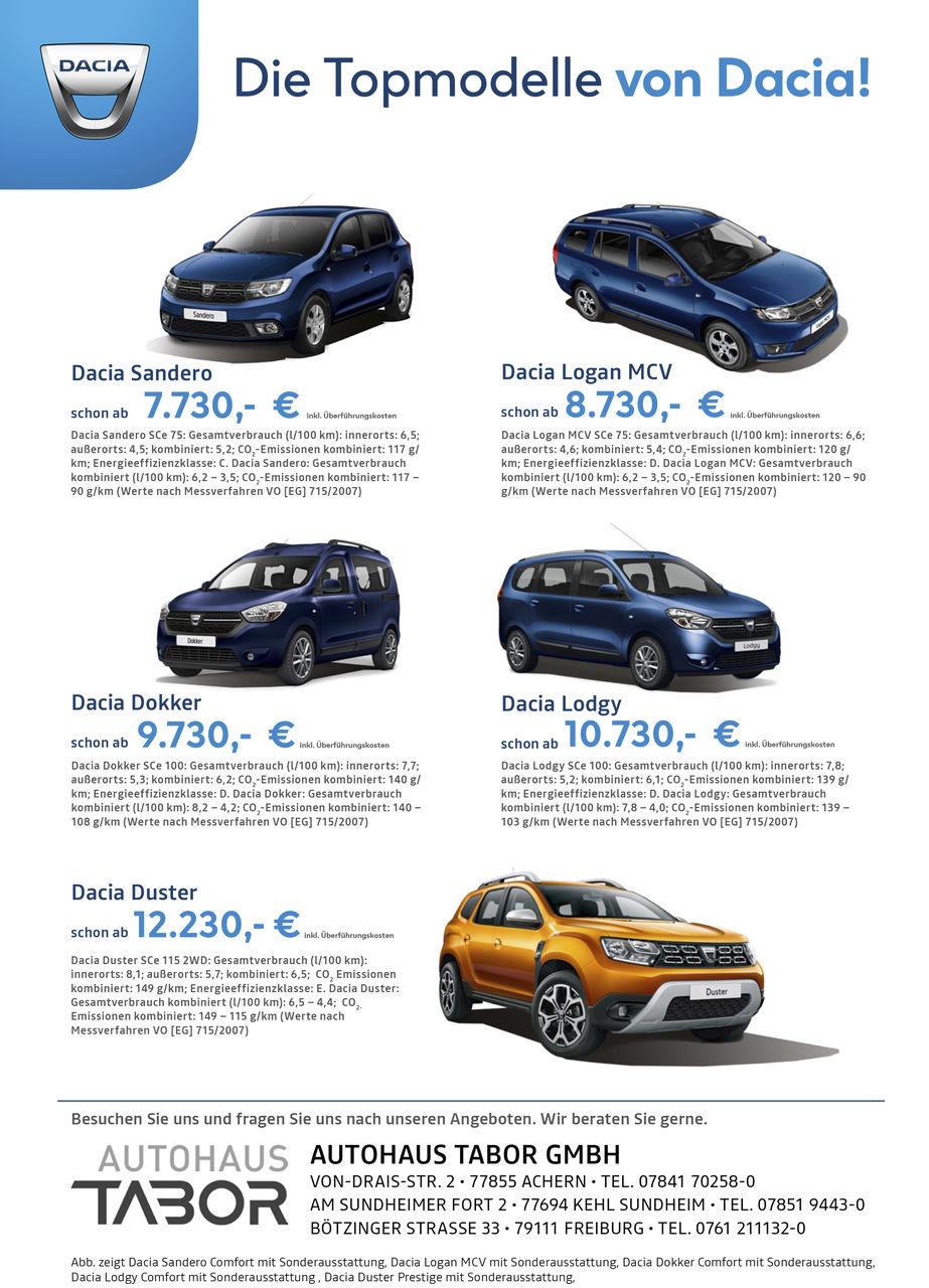 Aktion: Die Dacia-Topmodelle!
