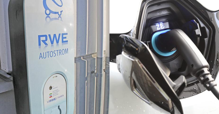 RWE Ladestation mit E-Auto