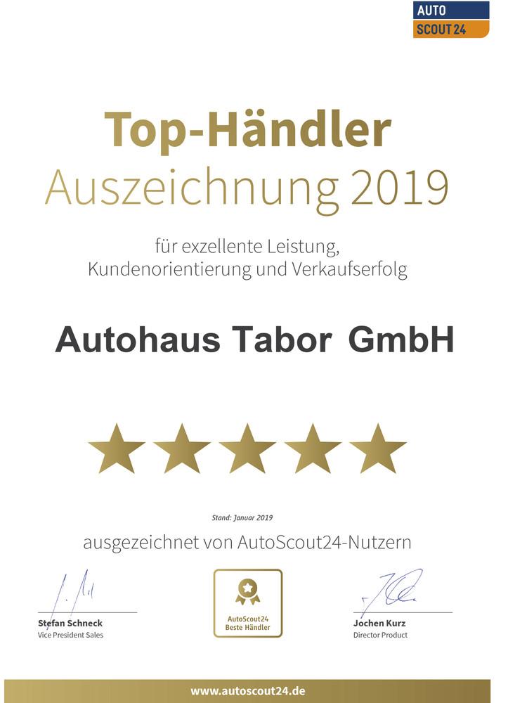 Urkunde für besten Autohändler 2019